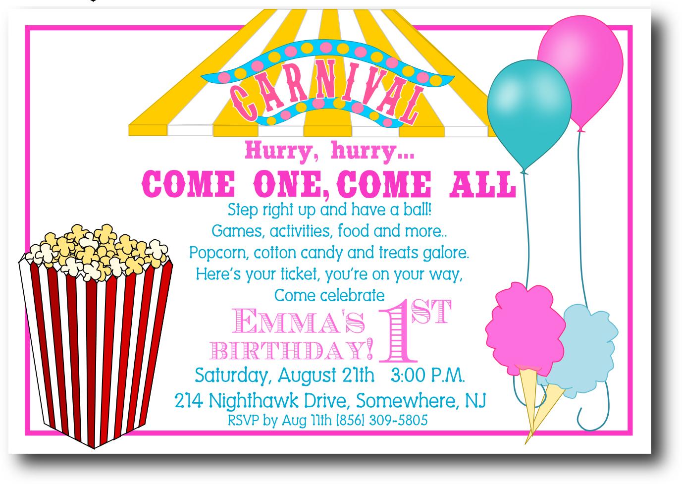 Printable Carnival Wedding Invitations