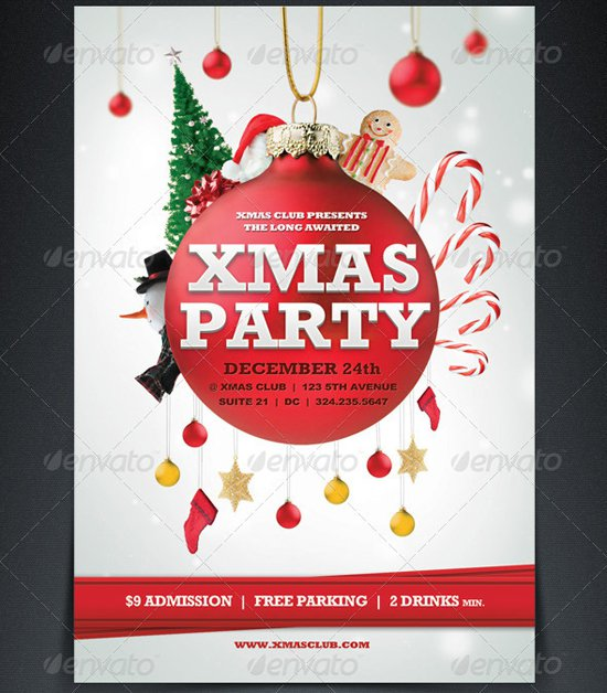 Handy image in free printable christmas party flyer templates