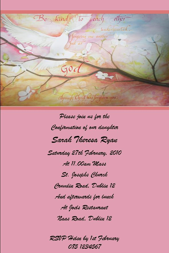 Printable Confirmation Party Invitations