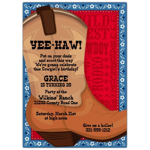Printable Cowboy Boot Invitations