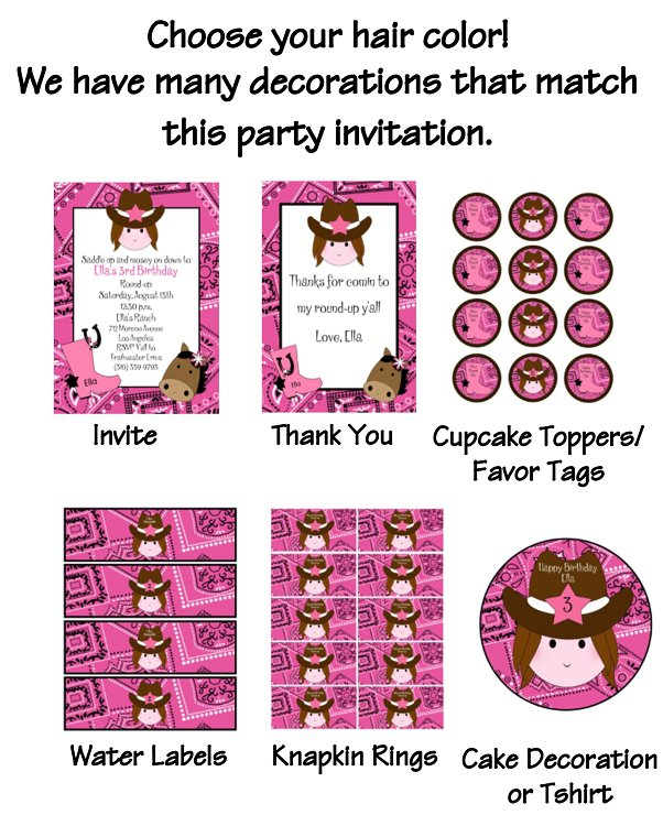 Printable Cowgirl Birthday Party Invitations
