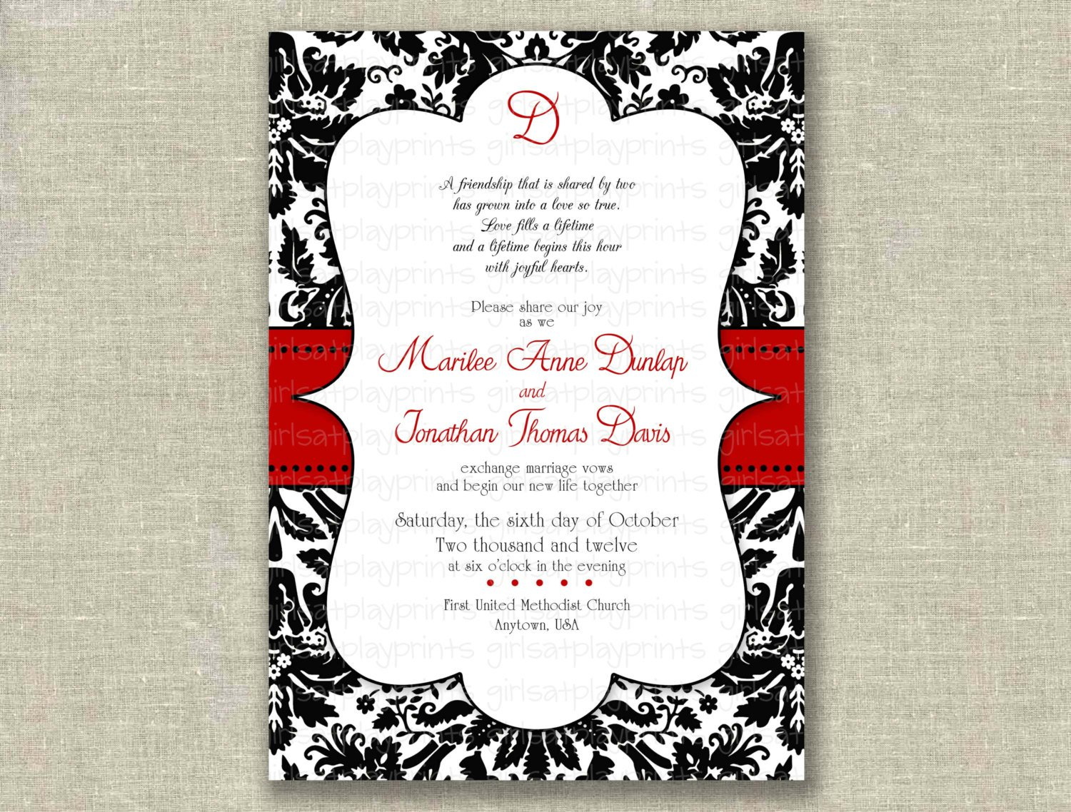 Red And Black Wedding Invitations Templates: Printable Damask Invitations