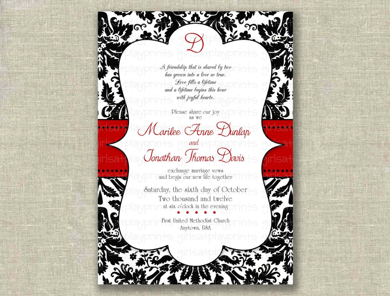 Printable Damask Wedding Invitations