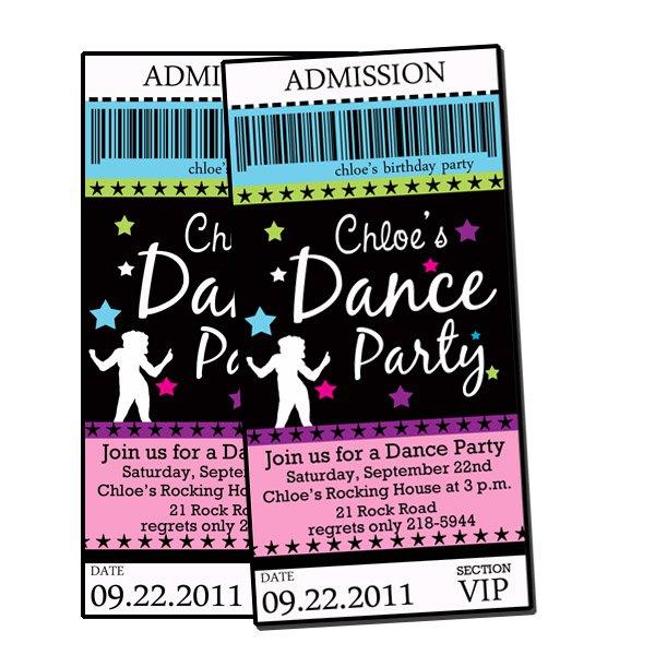 Printable Dance Party Birthday Invitations