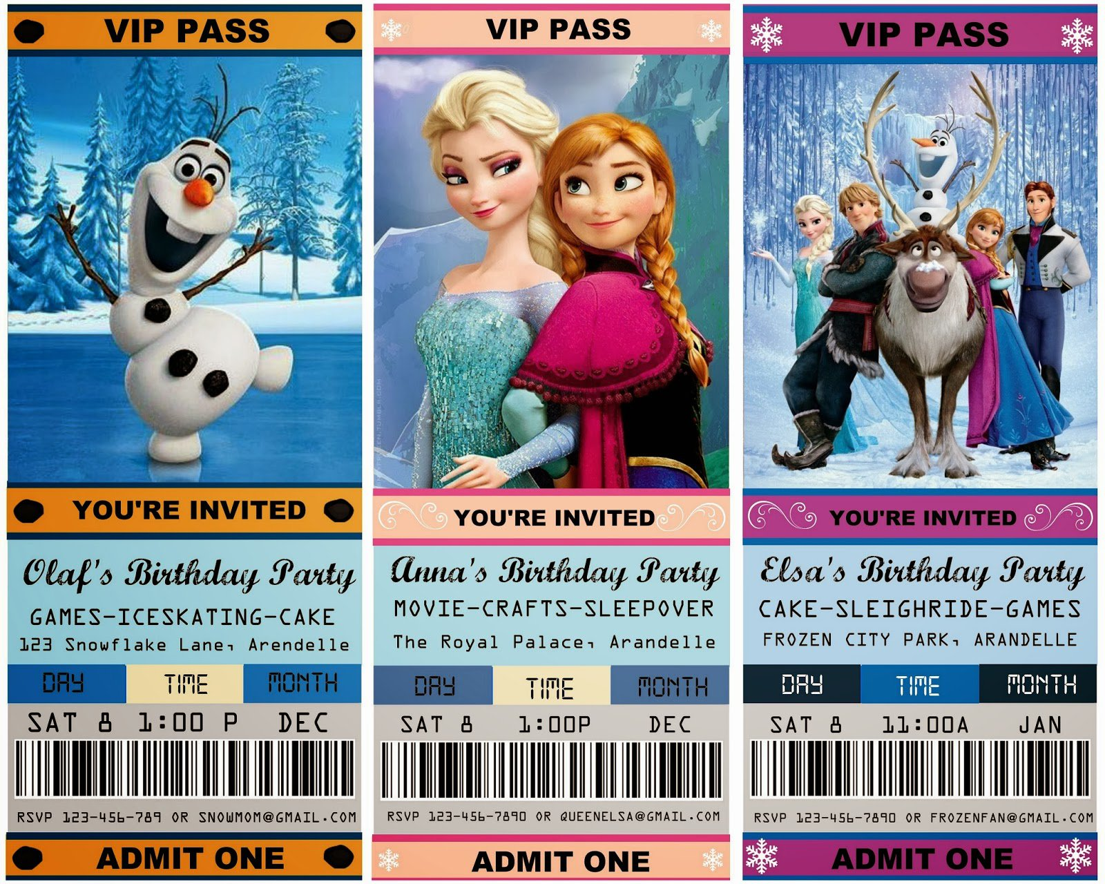 Printable Frozen Party Invitations Australia
