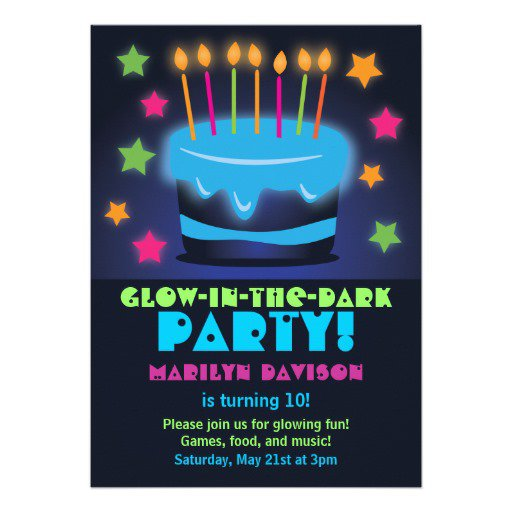 Printable Glow In The Dark Birthday Invitations