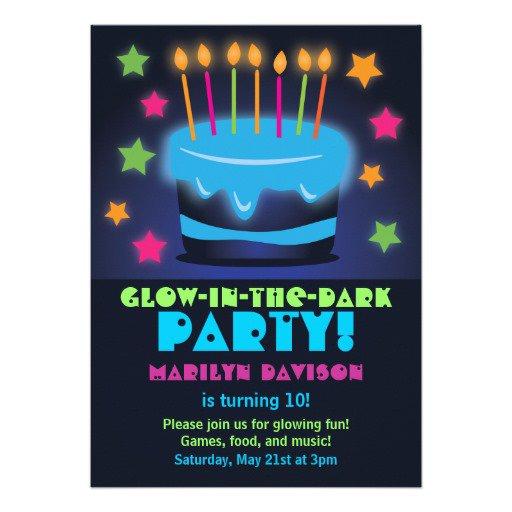 Printable Glow In The Dark Birthday Invitations