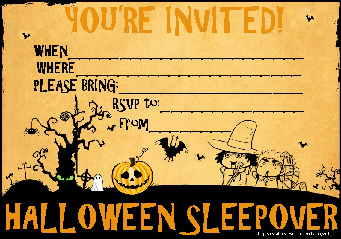 Printable Halloween Invitations For Sleep Over
