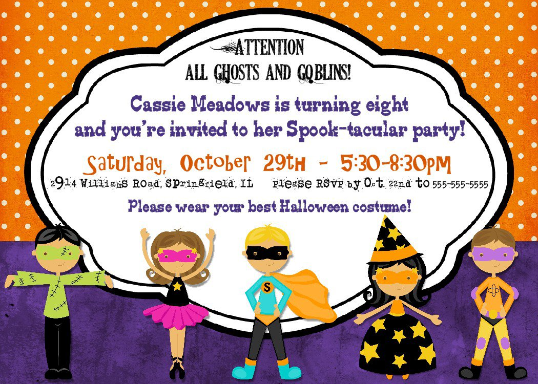 Halloween Party Printable Birthday Invitations