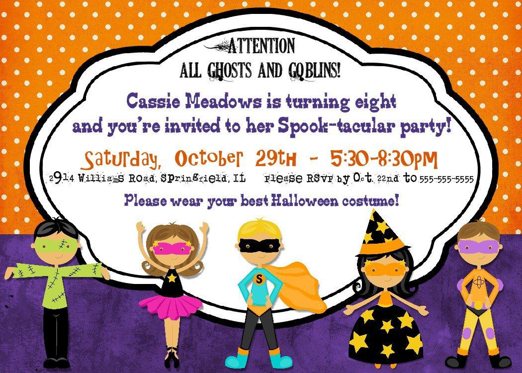 Printable Halloween Themed Birthday Party Invitations