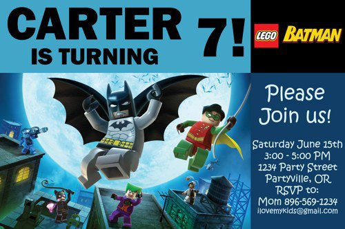 Printable Lego Batman Birthday Invitations
