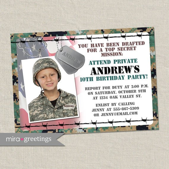 Printable Military Birthday Invitations