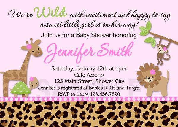 Printable Pink Safari Baby Shower Invitations