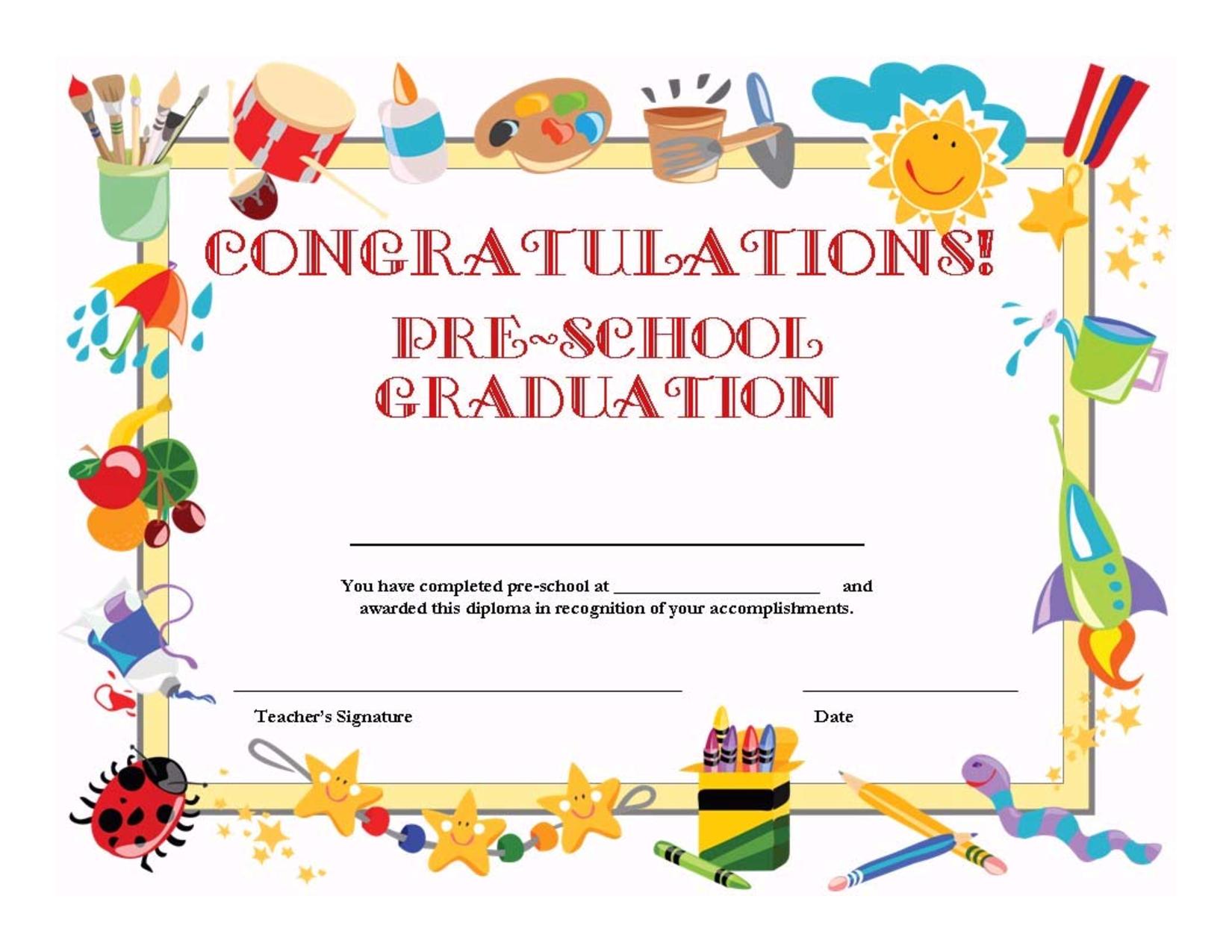 Printable Preschool Graduation Invitation Template