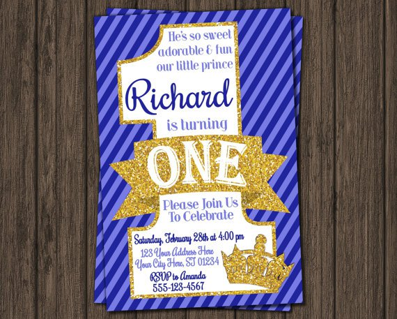 Printable Prince 1st Birthday Invitations