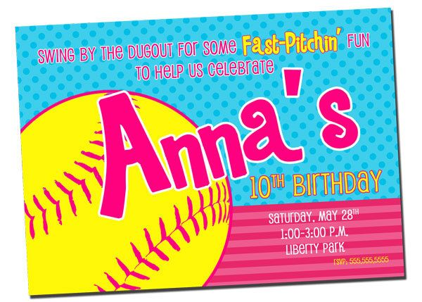 Printable Softball Party Invitations
