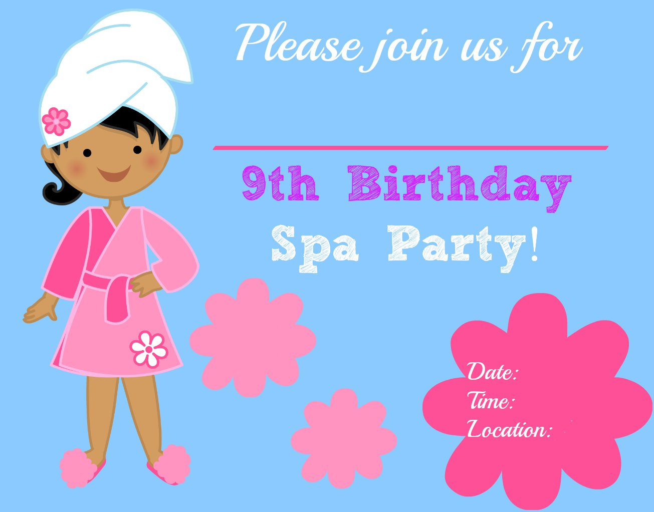 Printable Spa Party Invitation Templates