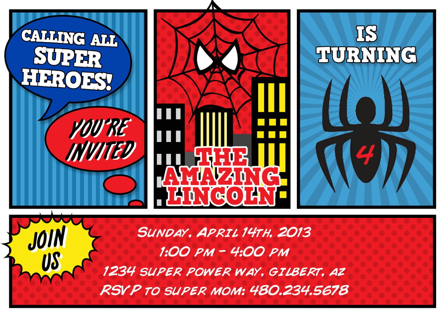 Printable Spiderman Invitation Cards
