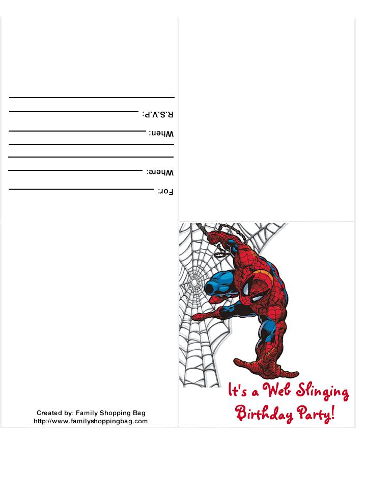 Printable Spiderman Invitations