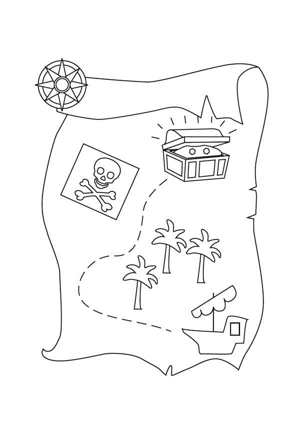 Printable Treasure Map Coloring Pages