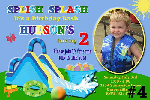 Printable Water Slide Birthday Party Invitations