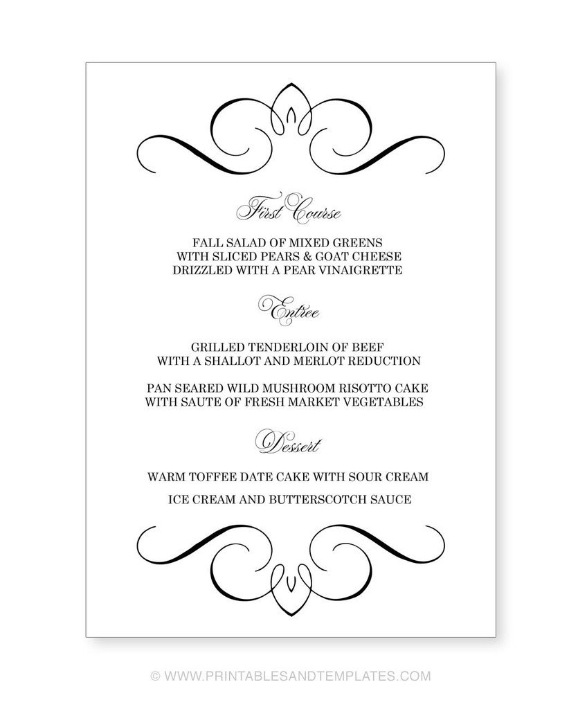 Free Printable Wedding Menu Templates .  Free Menu Templates Microsoft Word