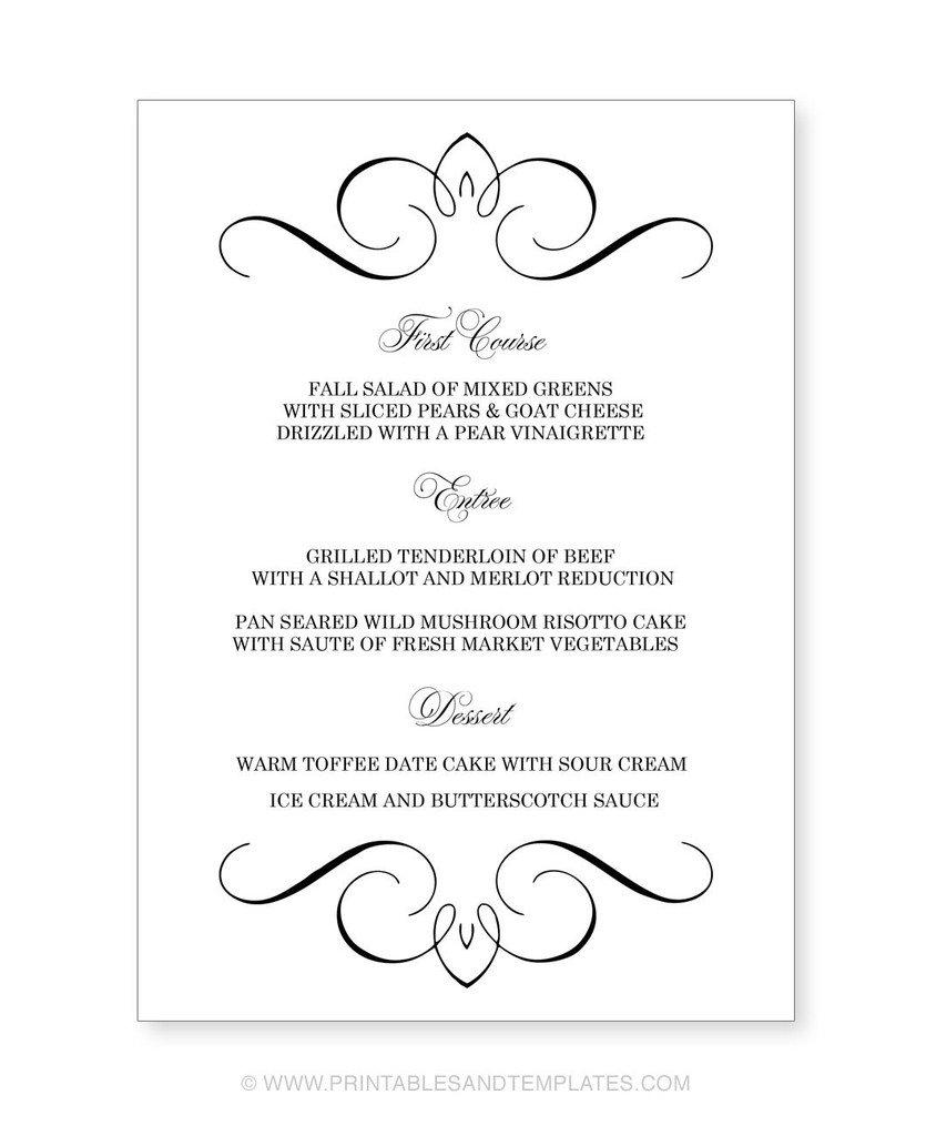 Printable Wedding Menu Templates