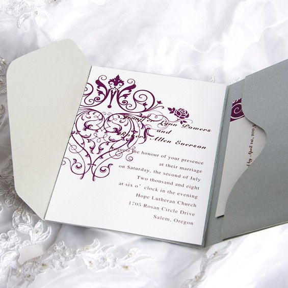 Purple And Silver Engagement Party Invitations