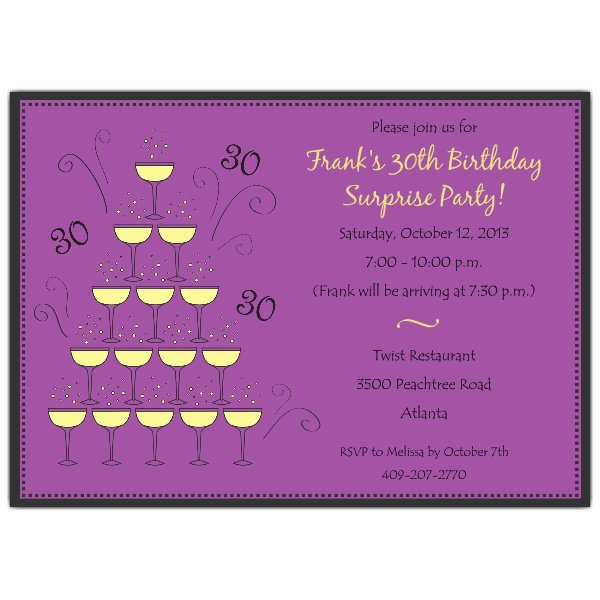 Purple Birthday Party Invitations