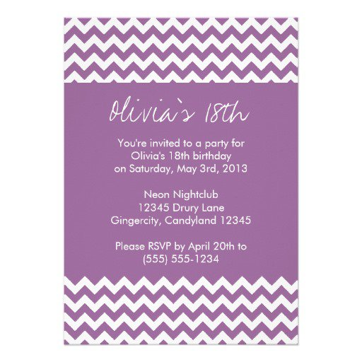Purple Chevron Birthday Invitations