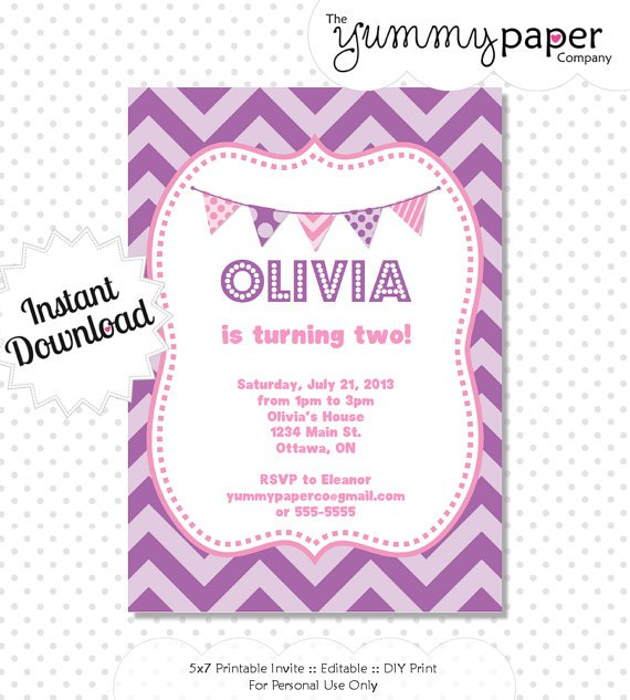 Purple Chevron Invitations