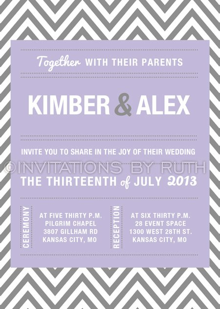 Purple Chevron Wedding Invitations