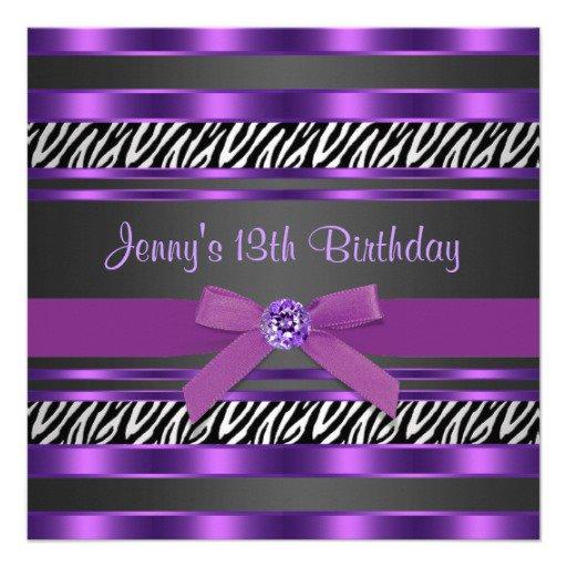 Purple Zebra Birthday Invitations 14