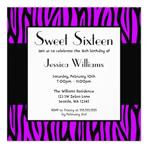 Purple Zebra Party Invitations