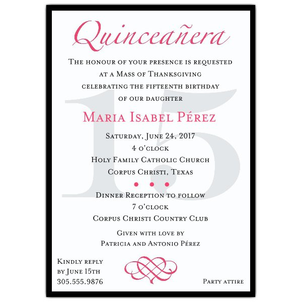 Quince Invitation Wording Samples