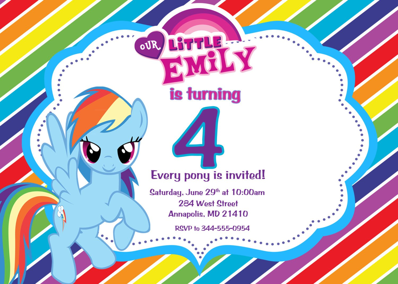 Rainbow Dash Invitation Template
