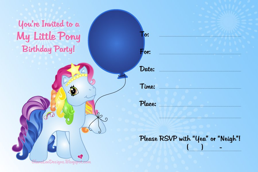 Rainbow Dash Invitations Free