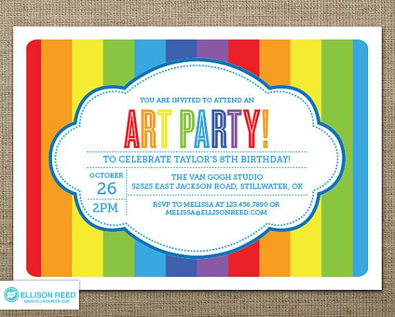 Rainbow Party Invitations Templates Free