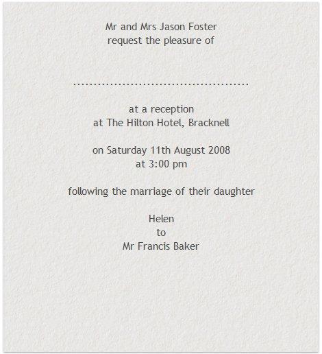 Reception Only Invitation Wording