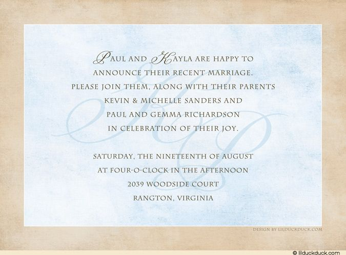 Reception Only Invitation Wording After Private Ceremony