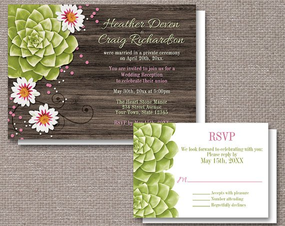 Reception Only Invitations With Rsvp