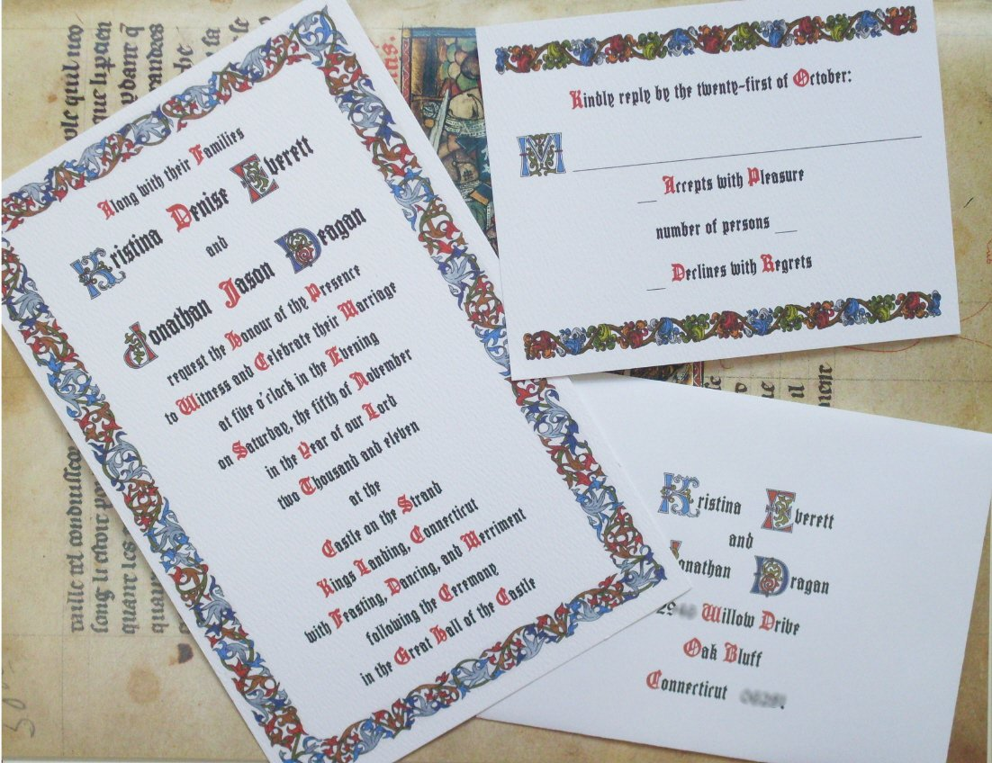 Renaissance Wedding Invitation Wording