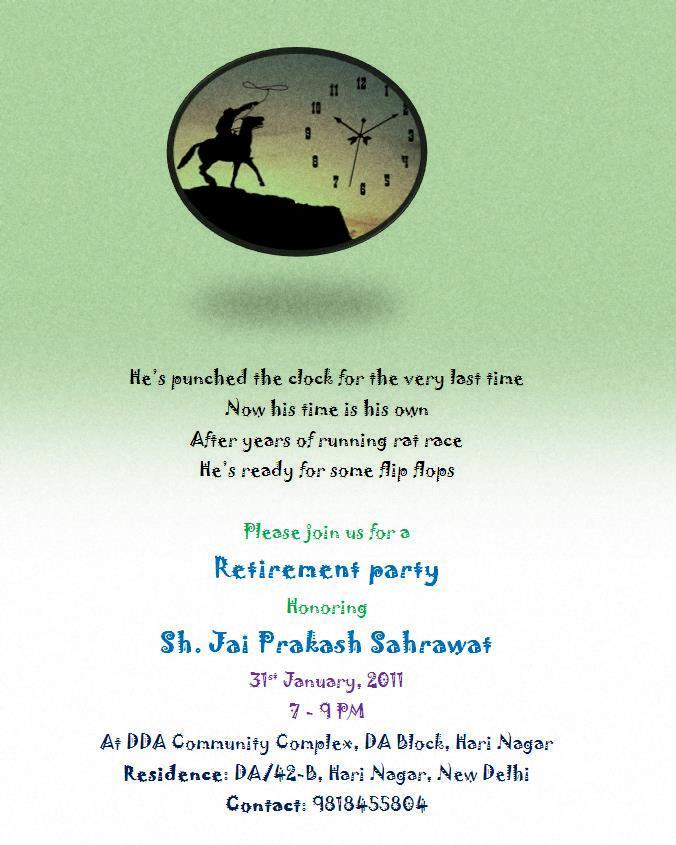 Retirement invitation cards retirement invitation cards in hindi stopboris Images