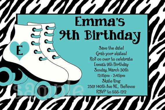 Roller Skating Birthday Invitation Wording