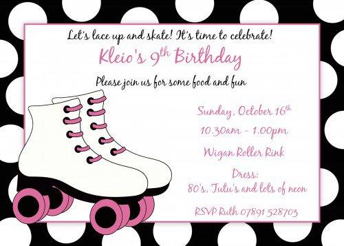 Roller Skating Birthday Invitations Printable