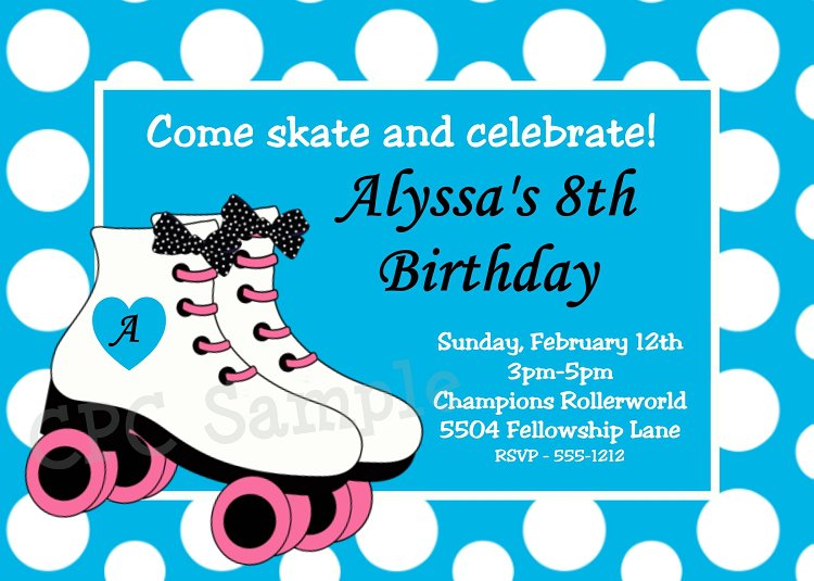 Roller Skating Birthday Party Invitations Printable