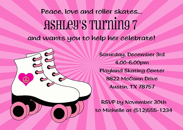 Roller Skating Invitations For Girls