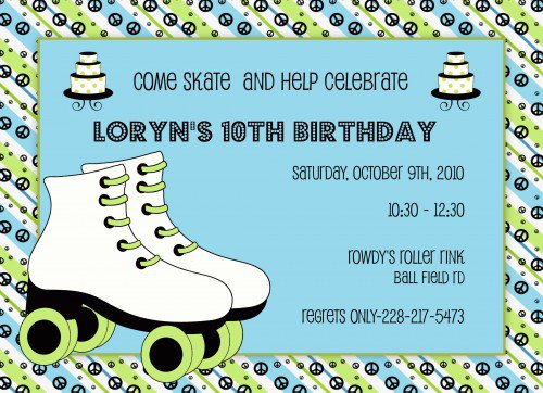 Roller Skating Party Invitation Template Free