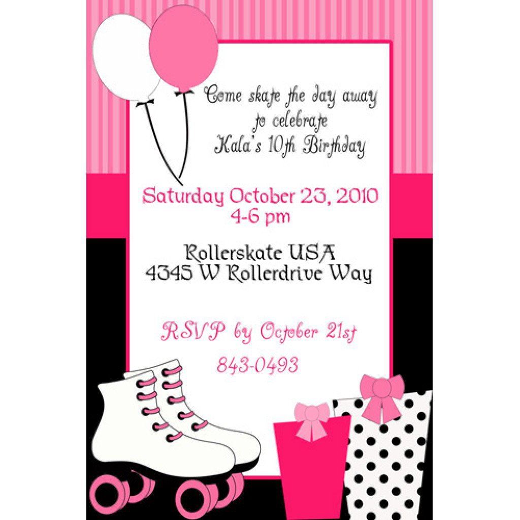 Roller Skating Party Invitations Free