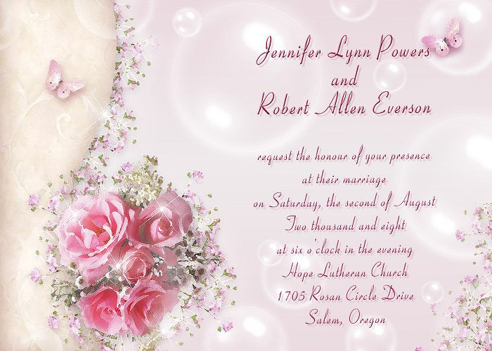 Outdoor Wedding Invitation Wording: Romantic Wedding Invitation Wording
